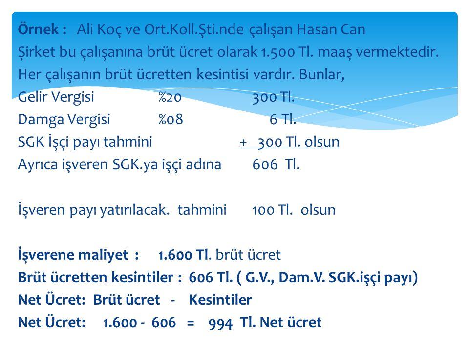 Örnek : Ali Koç ve Ort.Koll.Şti.nde çalışan Hasan Can Şirket bu çalışanına brüt ücret olarak 1.500 Tl.