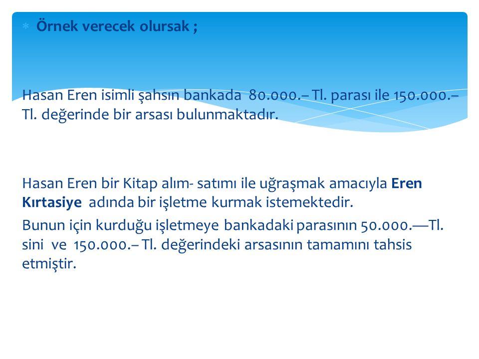  Örnek verecek olursak ; Hasan Eren isimli şahsın bankada 80.000.– Tl.
