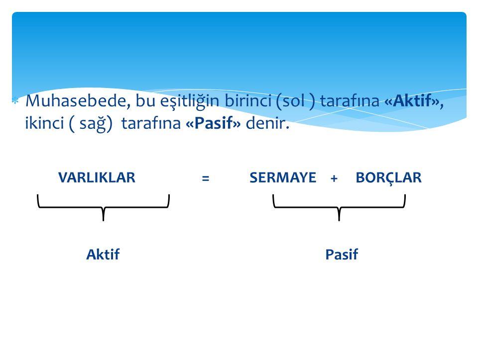  Muhasebede, bu eşitliğin birinci (sol ) tarafına «Aktif», ikinci ( sağ) tarafına «Pasif» denir.