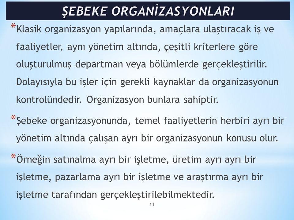 * Klasik organizasyon yapılarında, amaçlara ulaştıracak iş ve faaliyetler, aynı yönetim altında, çeşitli kriterlere göre oluşturulmuş departman veya b