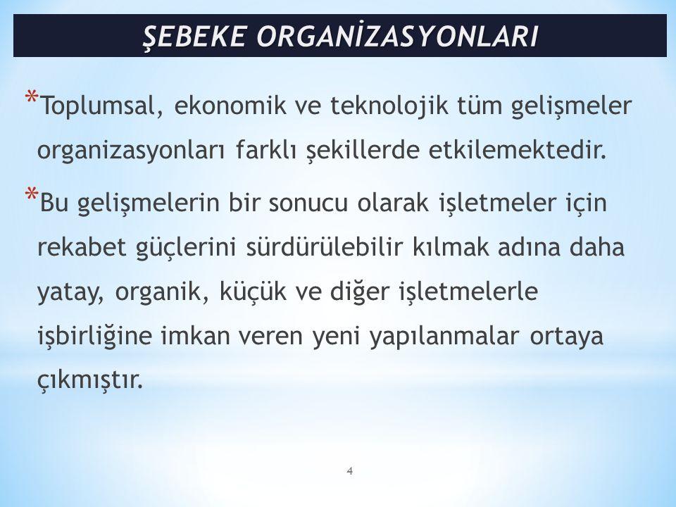 * Eksik ve zayıf yönlerine rağmen şebeke organizasyonları, çalkantılı (turbulent) ve belirsizliğin yüksek olduğu çevre koşulları içinde, organizasyon yapılanması açısından etkin bir çözüm olarak görülmektedir.