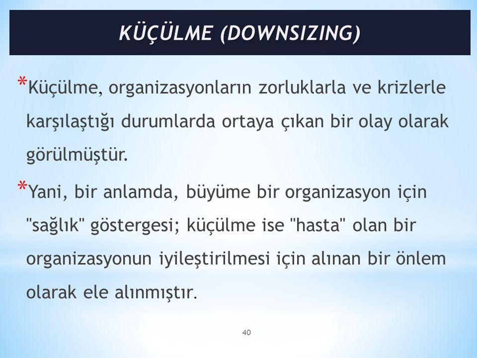 * Küçülme, organizasyonların zorluklarla ve krizlerle karşılaştığı durumlarda ortaya çıkan bir olay olarak görülmüştür. * Yani, bir anlamda, büyüme bi