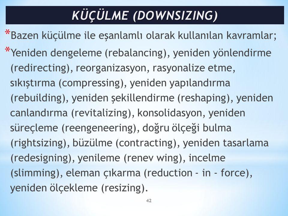 * Bazen küçülme ile eşanlamlı olarak kullanılan kavramlar; * Yeniden dengeleme (rebalancing), yeniden yönlendirme (redirecting), reorganizasyon, rasyo