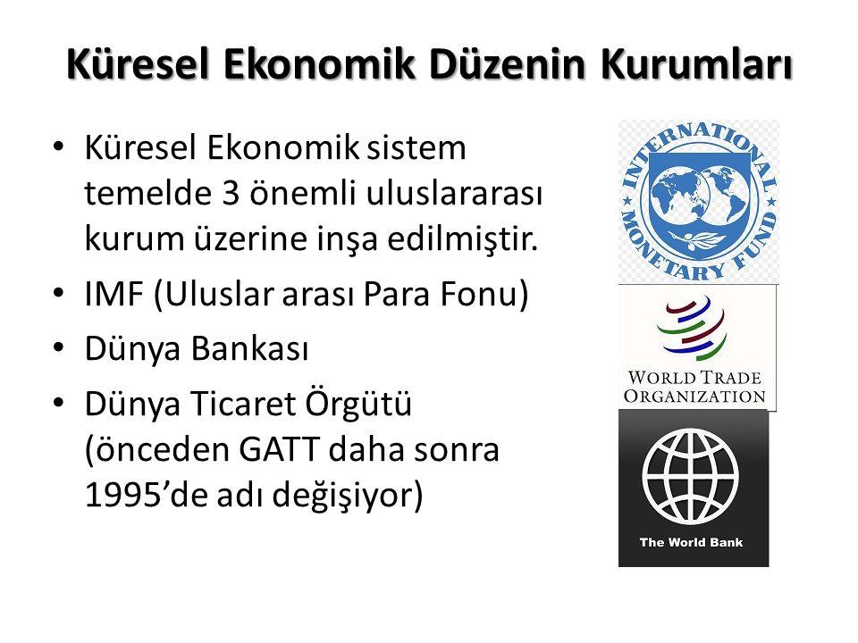 Küresel Ekonomik Düzenin Kurumları Küresel Ekonomik sistem temelde 3 önemli uluslararası kurum üzerine inşa edilmiştir.
