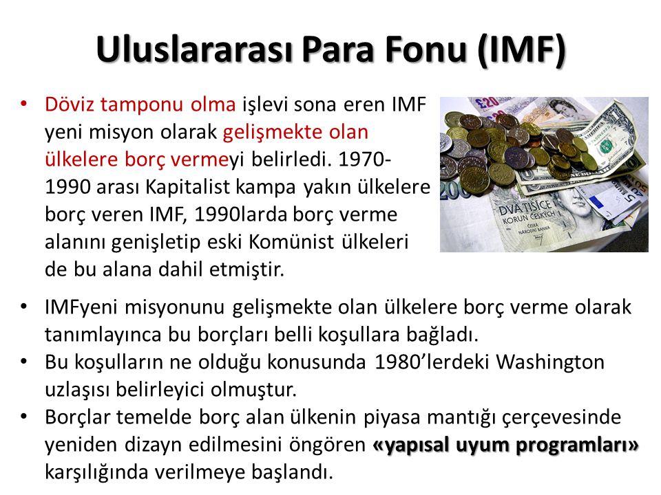 Uluslararası Para Fonu (IMF) Döviz tamponu olma işlevi sona eren IMF yeni misyon olarak gelişmekte olan ülkelere borç vermeyi belirledi.