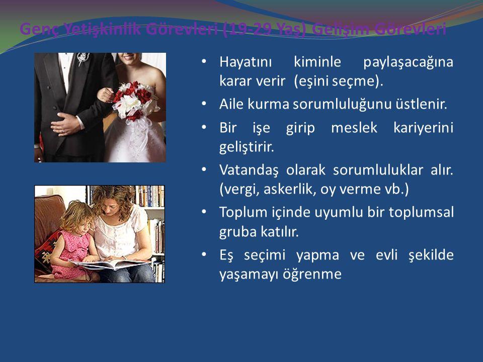 Genç Yetişkinlik Görevleri (19-29 Yaş) Gelişim Görevleri Hayatını kiminle paylaşacağına karar verir (eşini seçme). Aile kurma sorumluluğunu üstlenir.
