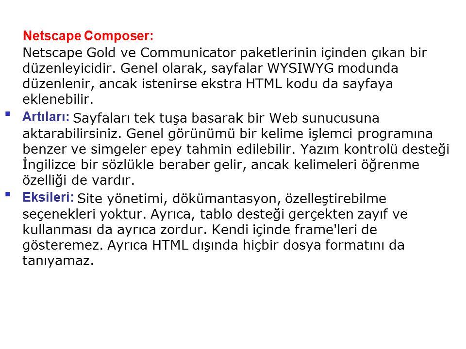 Netscape Composer: Netscape Gold ve Communicator paketlerinin içinden çıkan bir düzenleyicidir. Genel olarak, sayfalar WYSIWYG modunda düzenlenir, anc