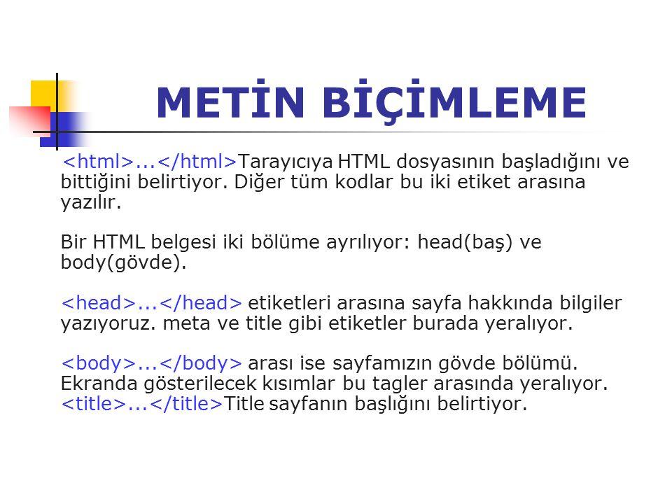 METİN BİÇİMLEME... Tarayıcıya HTML dosyasının başladığını ve bittiğini belirtiyor. Diğer tüm kodlar bu iki etiket arasına yazılır. Bir HTML belgesi ik