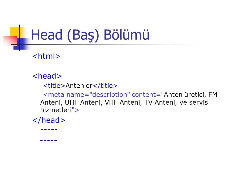 Head (Baş) Bölümü Antenler -----