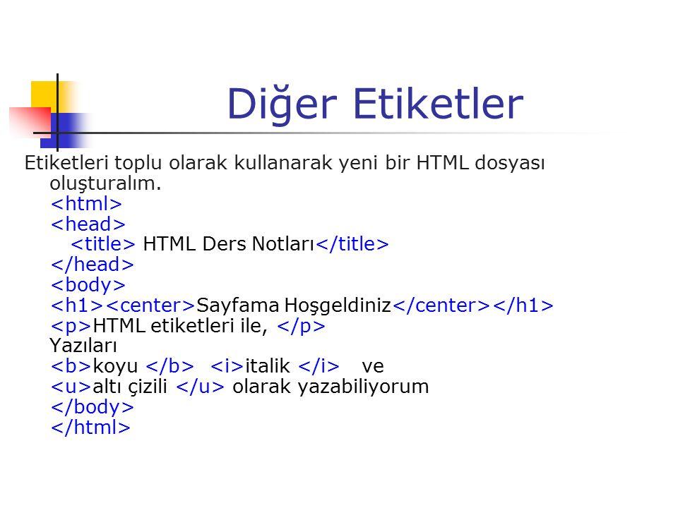 Diğer Etiketler Etiketleri toplu olarak kullanarak yeni bir HTML dosyası oluşturalım. HTML Ders Notları Sayfama Hoşgeldiniz HTML etiketleri ile, Yazıl