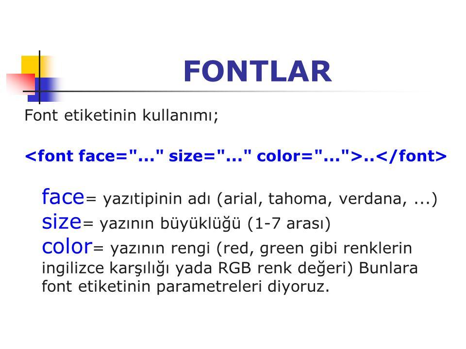 FONTLAR Font etiketinin kullanımı;.. face = yazıtipinin adı (arial, tahoma, verdana,...) size = yazının büyüklüğü (1-7 arası) color = yazının rengi (r