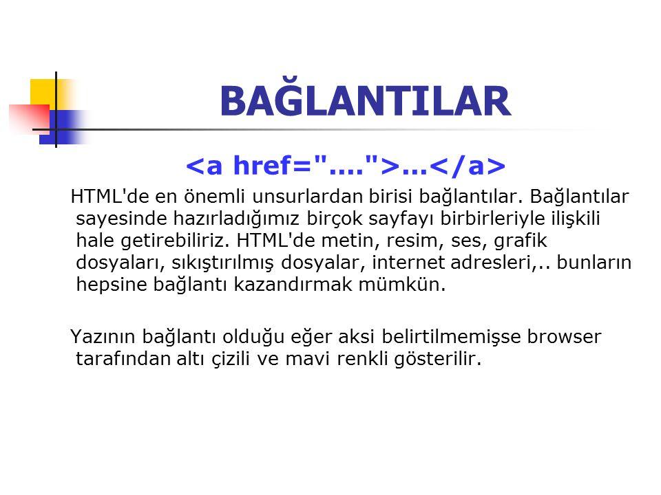 BAĞLANTILAR... HTML de en önemli unsurlardan birisi bağlantılar.