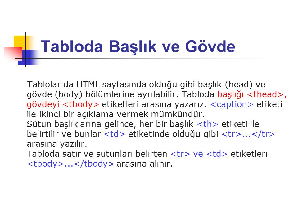 Tabloda Başlık ve Gövde Tablolar da HTML sayfasında olduğu gibi başlık (head) ve gövde (body) bölümlerine ayrılabilir.