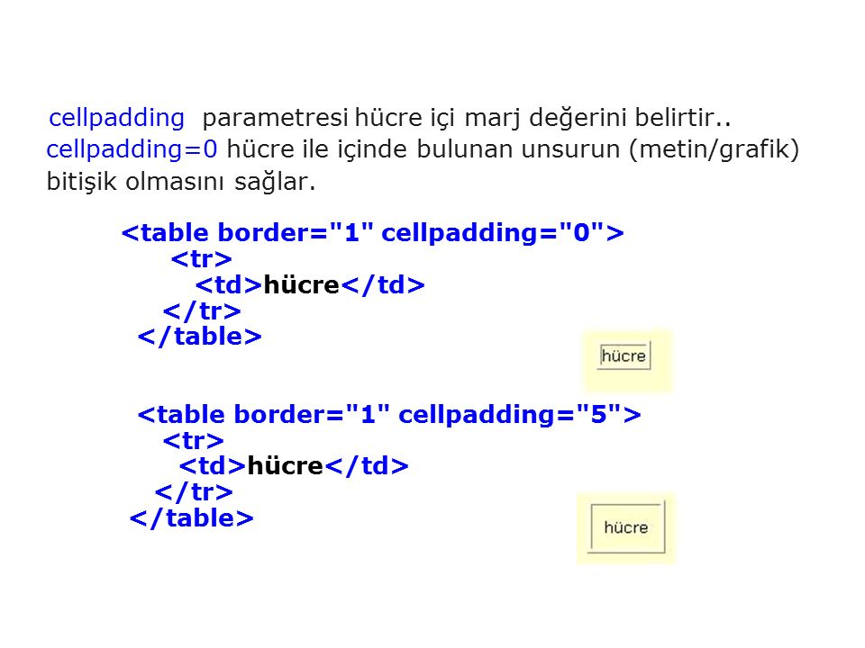 cellpadding parametresi hücre içi marj değerini belirtir.. cellpadding=0 hücre ile içinde bulunan unsurun (metin/grafik) bitişik olmasını sağlar. hücr