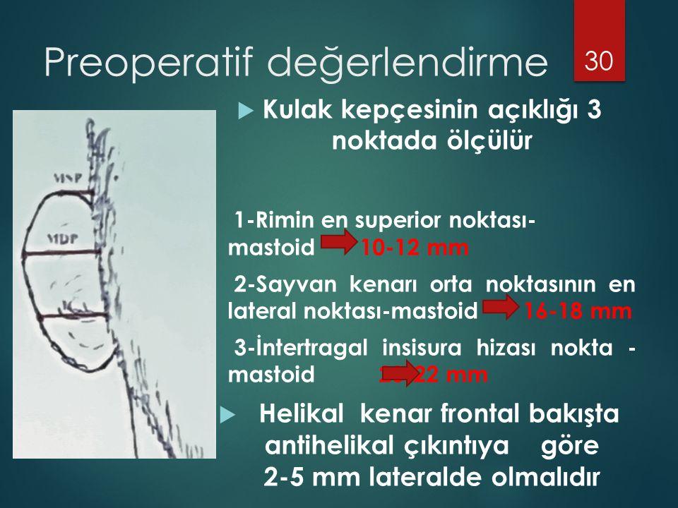 Preoperatif değerlendirme  Kulak kepçesinin açıklığı 3 noktada ölçülür 1-Rimin en superior noktası- mastoid 10-12 mm 2-Sayvan kenarı orta noktasının en lateral noktası-mastoid 16-18 mm 3-İntertragal insisura hizası nokta - mastoid 20-22 mm  Helikal kenar frontal bakışta antihelikal çıkıntıya göre 2-5 mm lateralde olmalıdır 30