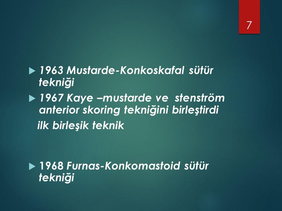  1963 Mustarde-Konkoskafal sütür tekniği  1967 Kaye –mustarde ve stenström anterior skoring tekniğini birleştirdi ilk birleşik teknik  1968 Furnas-Konkomastoid sütür tekniği 7