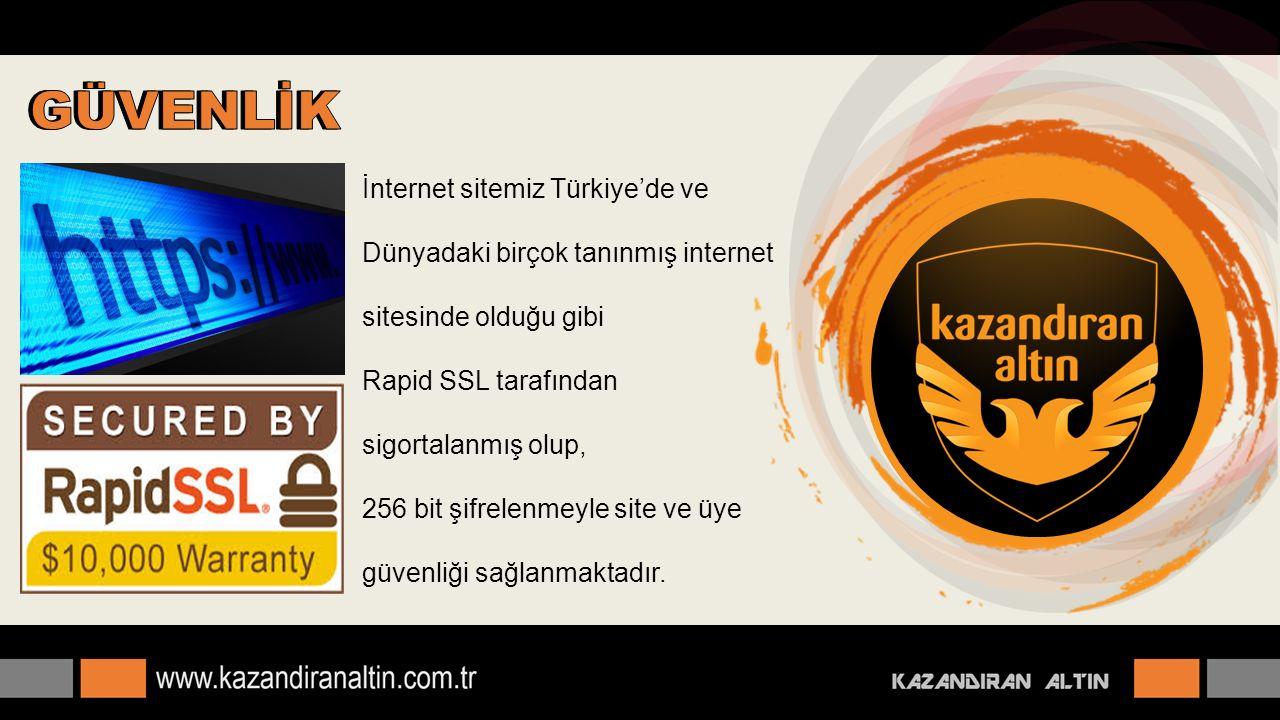 İnternet sitemiz Türkiye'de ve Dünyadaki birçok tanınmış internet sitesinde olduğu gibi Rapid SSL tarafından sigortalanmış olup, 256 bit şifrelenmeyle site ve üye güvenliği sağlanmaktadır.