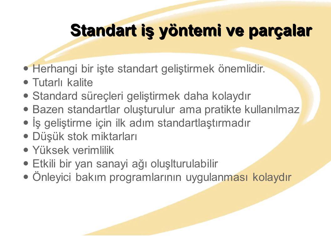 Standart iş yöntemi ve parçalar Herhangi bir işte standart geliştirmek önemlidir. Tutarlı kalite Standard süreçleri geliştirmek daha kolaydır Bazen st