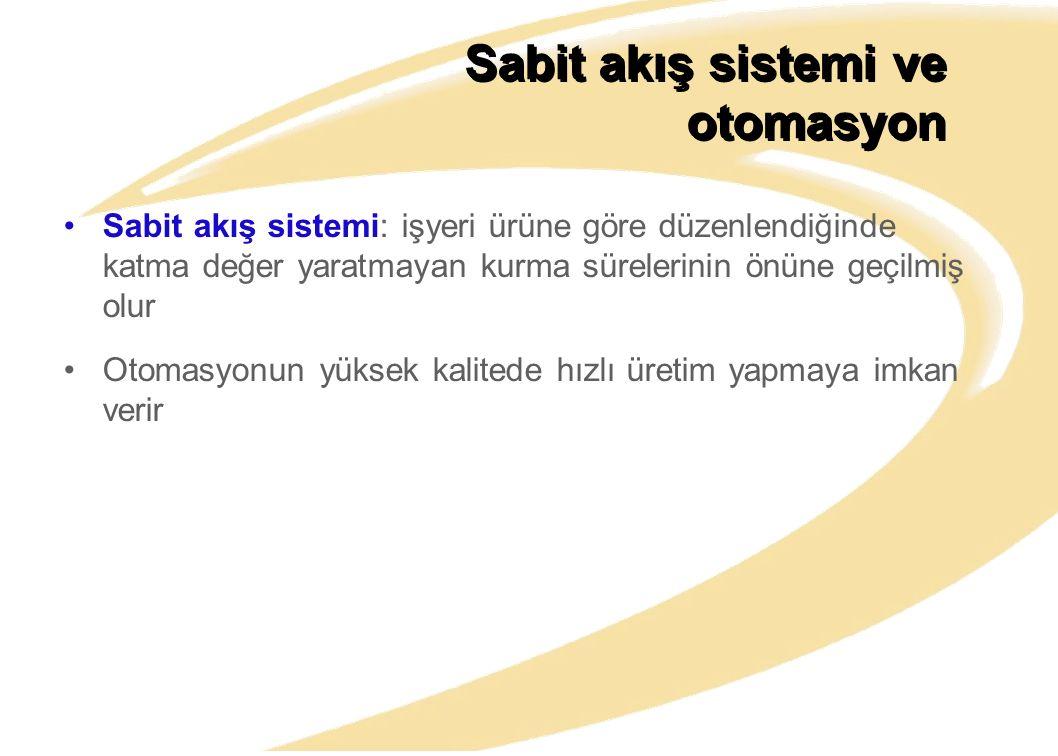 Sabit akış sistemi ve otomasyon Sabit akış sistemi: işyeri ürüne göre düzenlendiğinde katma değer yaratmayan kurma sürelerinin önüne geçilmiş olur Oto