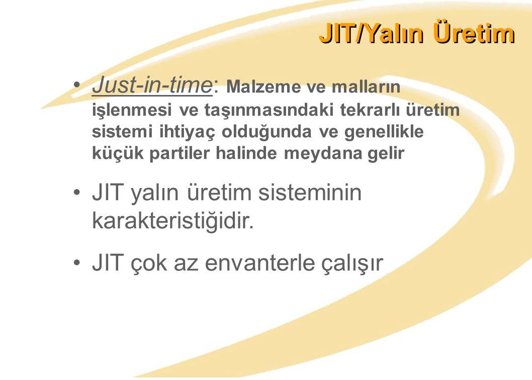 JIT/Yalın Üretim Just-in-time: Malzeme ve malların işlenmesi ve taşınmasındaki tekrarlı üretim sistemi ihtiyaç olduğunda ve genellikle küçük partiler halinde meydana gelir JIT yalın üretim sisteminin karakteristiğidir.