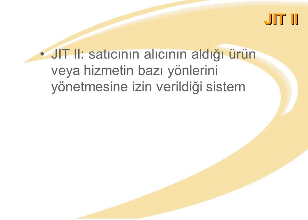 JIT II: satıcının alıcının aldığı ürün veya hizmetin bazı yönlerini yönetmesine izin verildiği sistem JIT II