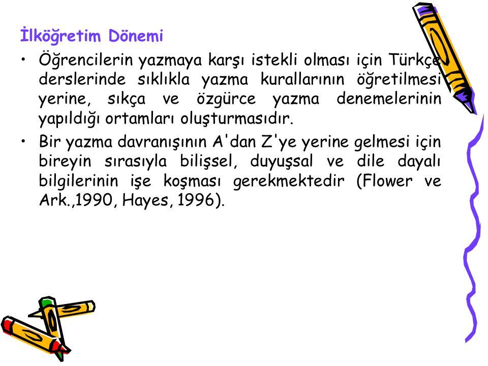 İlköğretim Dönemi Öğrencilerin yazmaya karşı istekli olması için Türkçe derslerinde sıklıkla yazma kurallarının öğretilmesi yerine, sıkça ve özgürce yazma denemelerinin yapıldığı ortamları oluşturmasıdır.