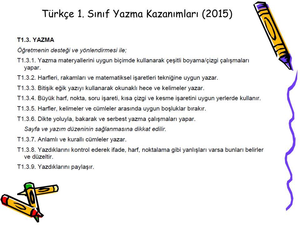 Türkçe Türkçe 1. Sınıf Yazma Kazanımları (2015)