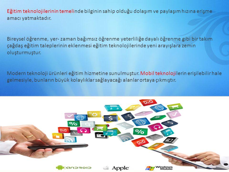 Eğitim teknolojilerinin temelinde bilginin sahip olduğu dolaşım ve paylaşım hızına erişme amacı yatmaktadır. Bireysel öğrenme, yer- zaman bağımsız öğr