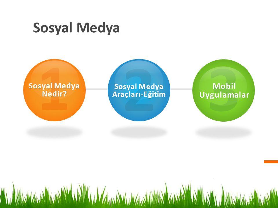 Sosyal Medya 1 Sosyal Medya Nedir? 2 Sosyal Medya Araçları-Eğitim 3 Mobil Uygulamalar