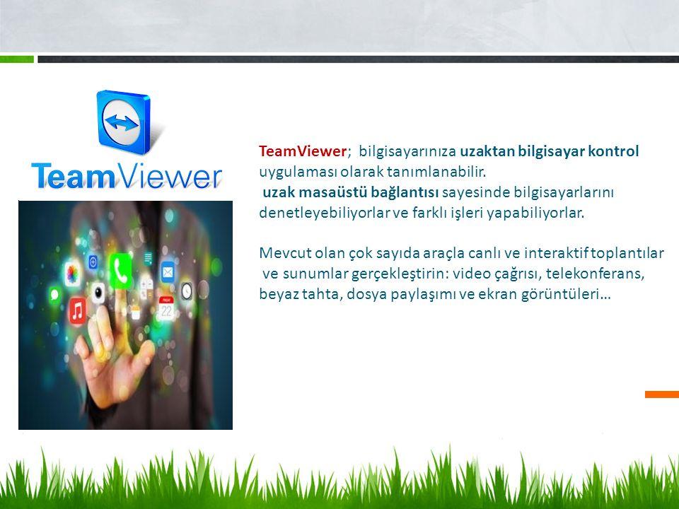 TeamViewer; bilgisayarınıza uzaktan bilgisayar kontrol uygulaması olarak tanımlanabilir. uzak masaüstü bağlantısı sayesinde bilgisayarlarını denetleye