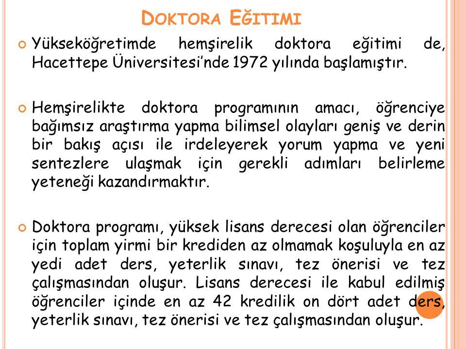 D OKTORA E ĞITIMI Yükseköğretimde hemşirelik doktora eğitimi de, Hacettepe Üniversitesi'nde 1972 yılında başlamıştır. Hemşirelikte doktora programının