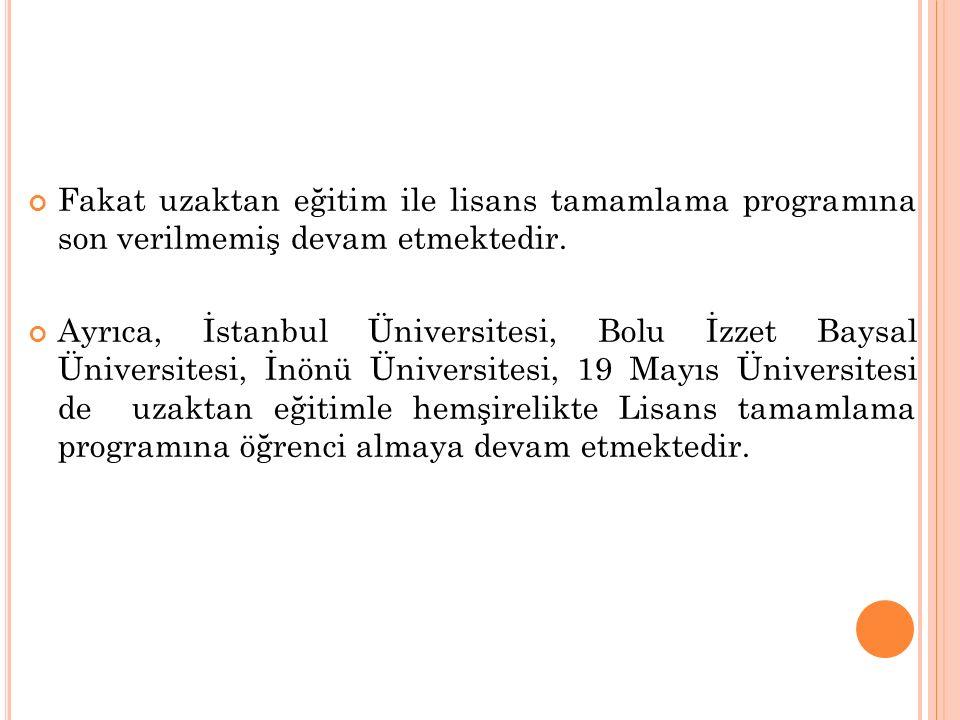 Fakat uzaktan eğitim ile lisans tamamlama programına son verilmemiş devam etmektedir. Ayrıca, İstanbul Üniversitesi, Bolu İzzet Baysal Üniversitesi, İ