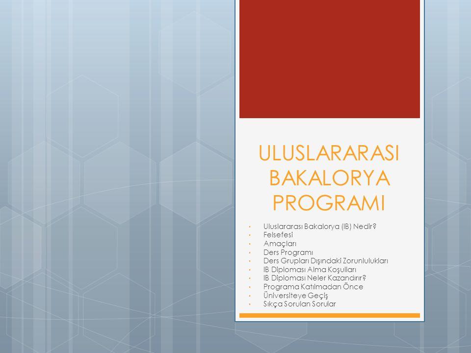ULUSLARARASI BAKALORYA PROGRAMI Uluslararası Bakalorya (IB) Nedir? Felsefesi Amaçları Ders Programı Ders Grupları Dışındaki Zorunlulukları IB Diplomas