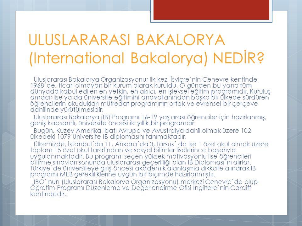 ULUSLARARASI BAKALORYA (International Bakalorya) NEDİR? Uluslararası Bakalorya Organizasyonu; ilk kez, İsviçre´nin Cenevre kentinde, 1968´de, ticari o