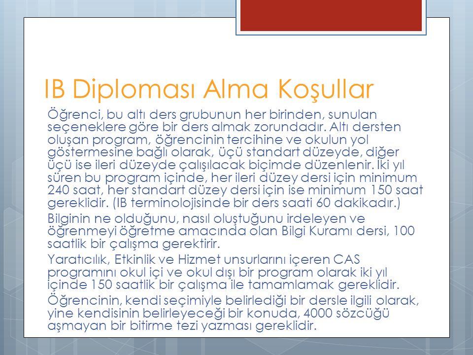 IB Diploması Alma Koşullar Öğrenci, bu altı ders grubunun her birinden, sunulan seçeneklere göre bir ders almak zorundadır. Altı dersten oluşan progra