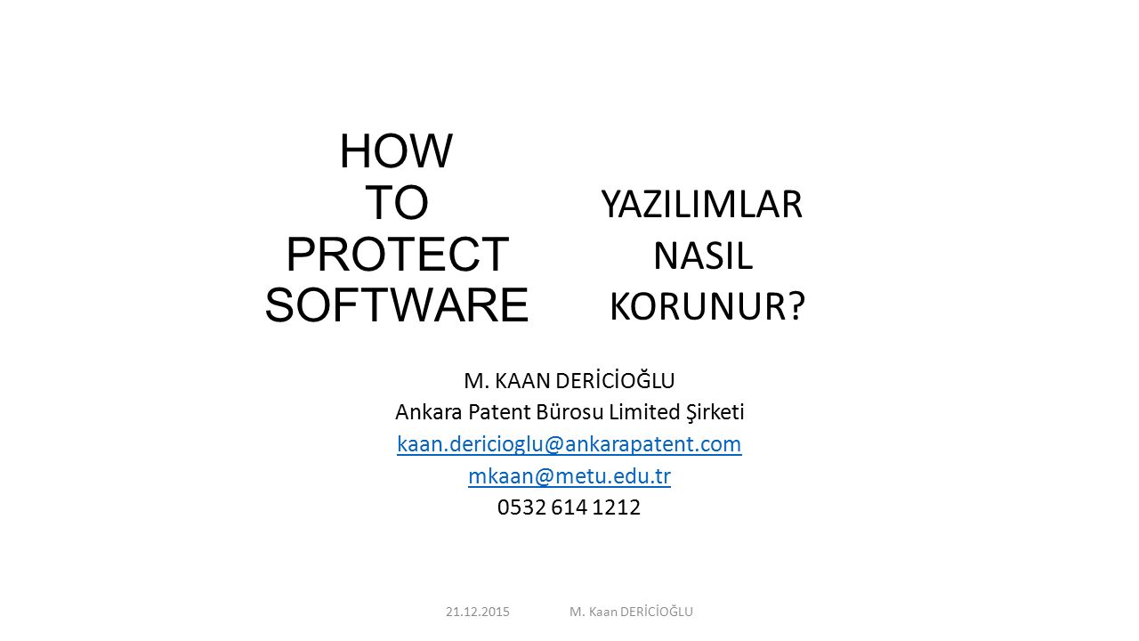 HOW TO PROTECT SOFTWARE M.