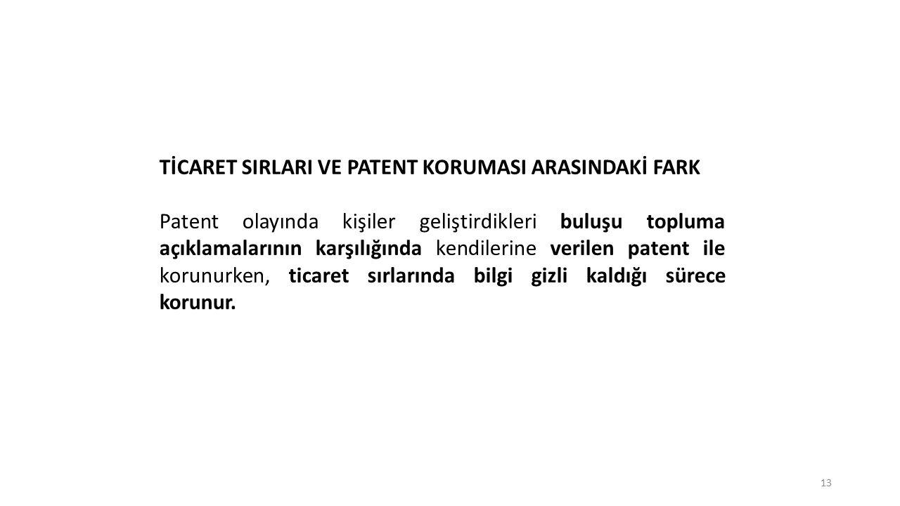 TİCARET SIRLARI VE PATENT KORUMASI ARASINDAKİ FARK Patent olayında kişiler geliştirdikleri buluşu topluma açıklamalarının karşılığında kendilerine ver
