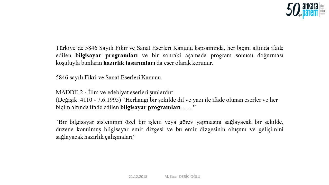 Türkiye'de 5846 Sayılı Fikir ve Sanat Eserleri Kanunu kapsamında, her biçim altında ifade edilen bilgisayar programları ve bir sonraki aşamada program