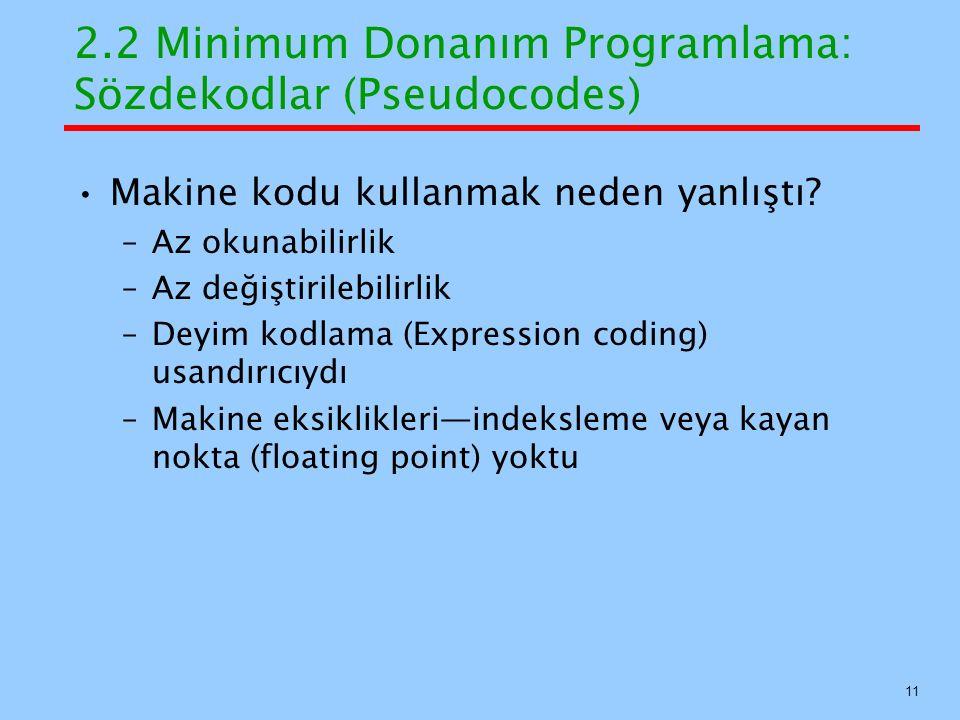 2.2 Minimum Donanım Programlama: Sözdekodlar (Pseudocodes) Makine kodu kullanmak neden yanlıştı.
