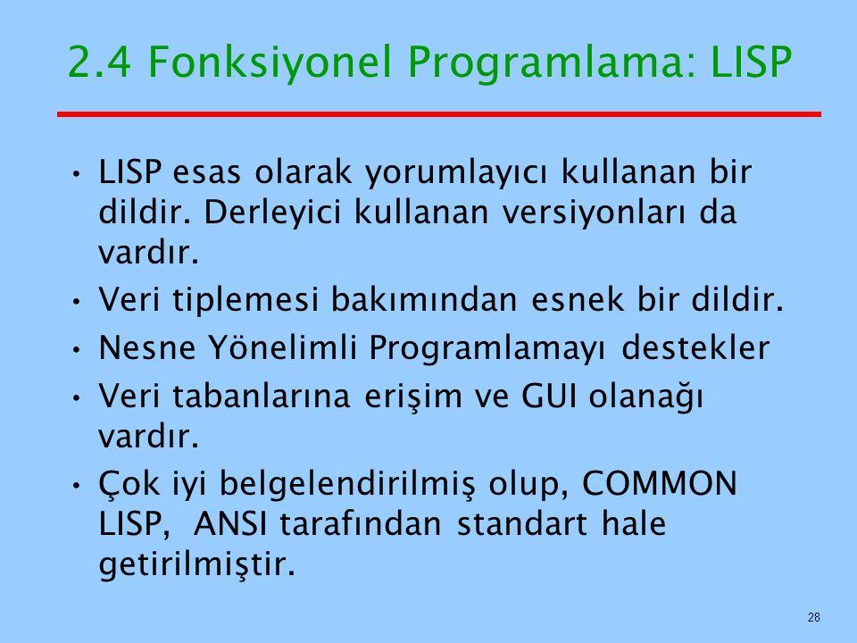 LISP esas olarak yorumlayıcı kullanan bir dildir.Derleyici kullanan versiyonları da vardır.