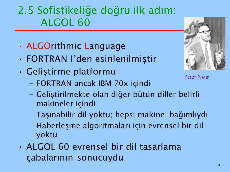 2.5 Sofistikeliğe doğru ilk adım: ALGOL 60 ALGOrithmic Language FORTRAN I'den esinlenilmiştir Geliştirme platformu –FORTRAN ancak IBM 70x içindi –Geliştirilmekte olan diğer bütün diller belirli makineler içindi –Taşınabilir dil yoktu; hepsi makine-bağımlıydı –Haberleşme algoritmaları için evrensel bir dil yoktu ALGOL 60 evrensel bir dil tasarlama çabalarının sonucuydu 34 Peter Naur