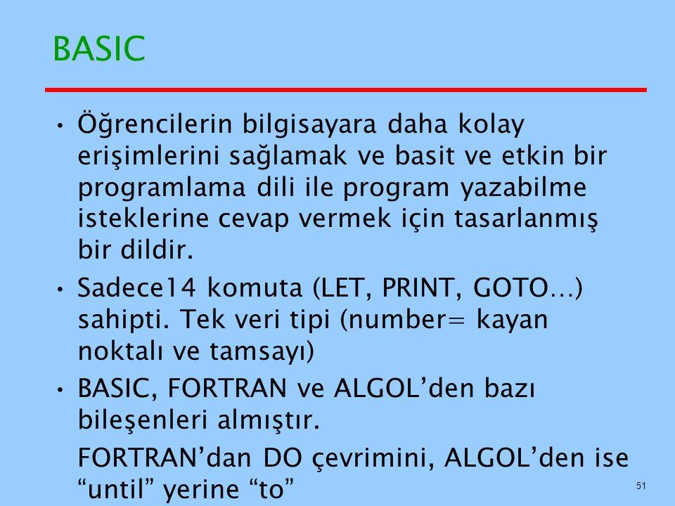 BASIC Öğrencilerin bilgisayara daha kolay erişimlerini sağlamak ve basit ve etkin bir programlama dili ile program yazabilme isteklerine cevap vermek için tasarlanmış bir dildir.