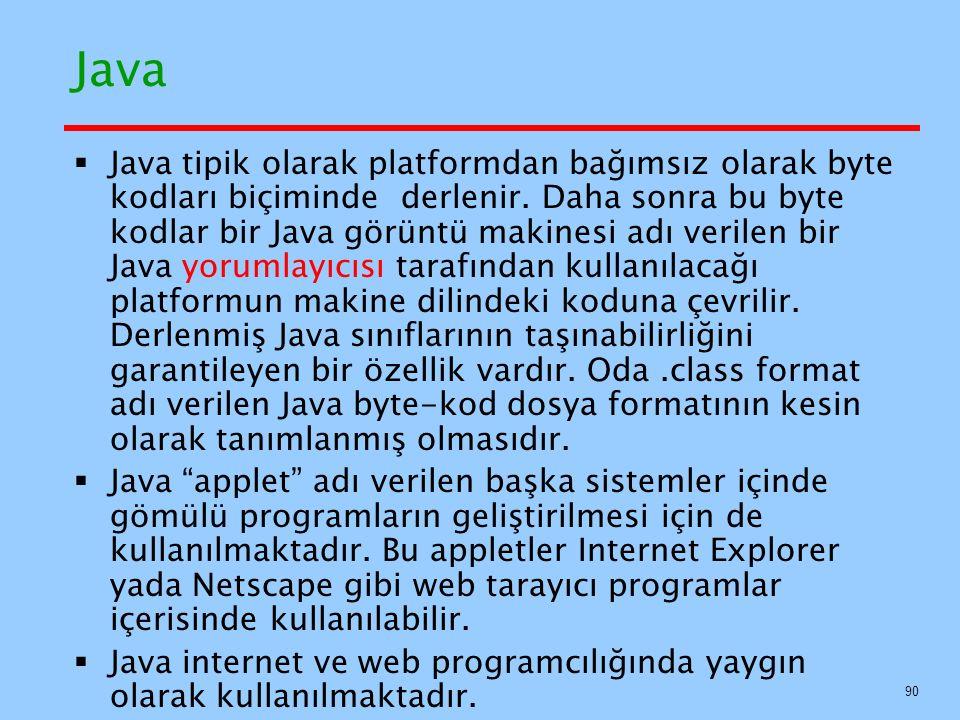 Java  Java tipik olarak platformdan bağımsız olarak byte kodları biçiminde derlenir.