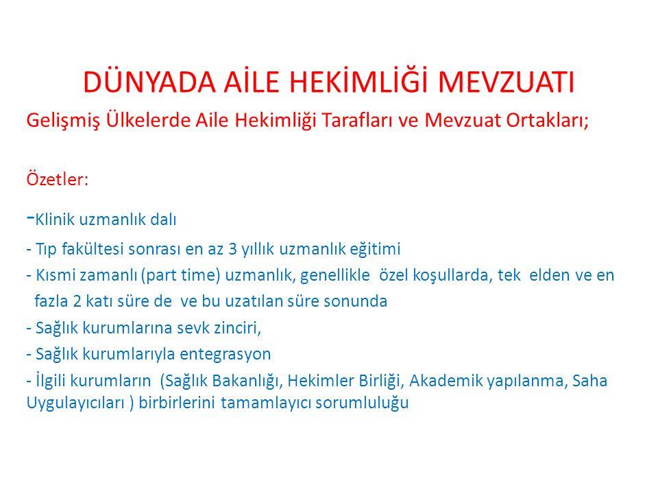 DÜNYADA AİLE HEKİMLİĞİ MEVZUATI Türkiye'de Aile Hekimliği Tarafları ve Mevzuat Ortakları; Özetler: - T.C.