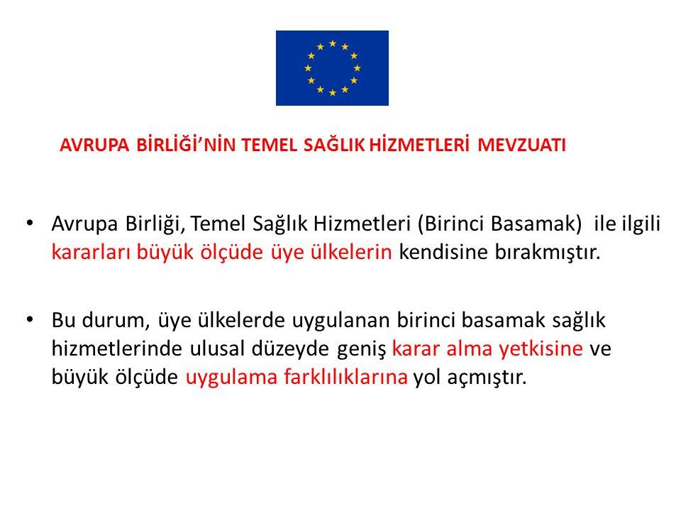AVRUPA BİRLİĞİ'NİN TEMEL SAĞLIK HİZMETLERİ MEVZUATI 1.