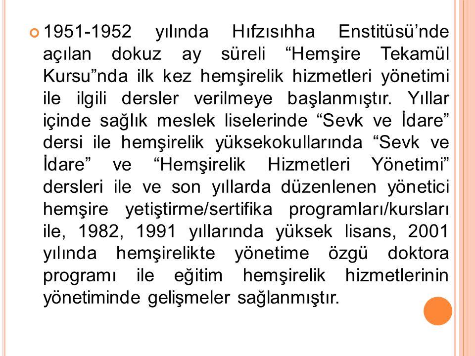 """1951-1952 yılında Hıfzısıhha Enstitüsü'nde açılan dokuz ay süreli """"Hemşire Tekamül Kursu""""nda ilk kez hemşirelik hizmetleri yönetimi ile ilgili dersler"""