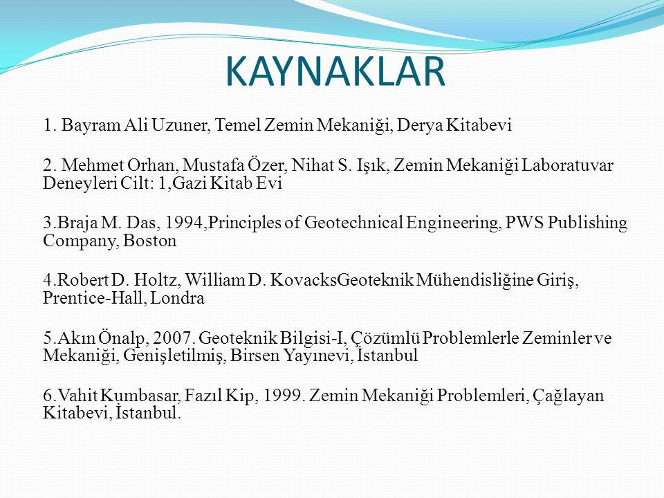 KAYNAKLAR 1. Bayram Ali Uzuner, Temel Zemin Mekaniği, Derya Kitabevi 2. Mehmet Orhan, Mustafa Özer, Nihat S. Işık, Zemin Mekaniği Laboratuvar Deneyler