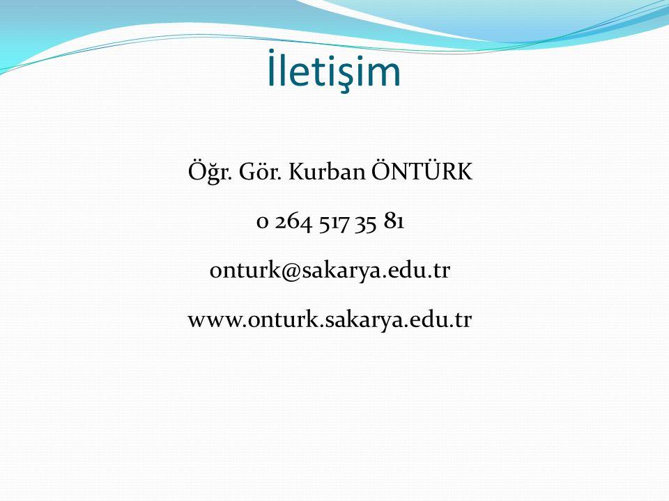 İletişim Öğr. Gör. Kurban ÖNTÜRK 0 264 517 35 81 onturk@sakarya.edu.tr www.onturk.sakarya.edu.tr