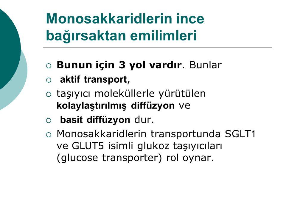 Monosakkaridlerin ince bağırsaktan emilimleri  Bunun için 3 yol vardır. Bunlar  aktif transport,  taşıyıcı moleküllerle yürütülen kolaylaştırılmış
