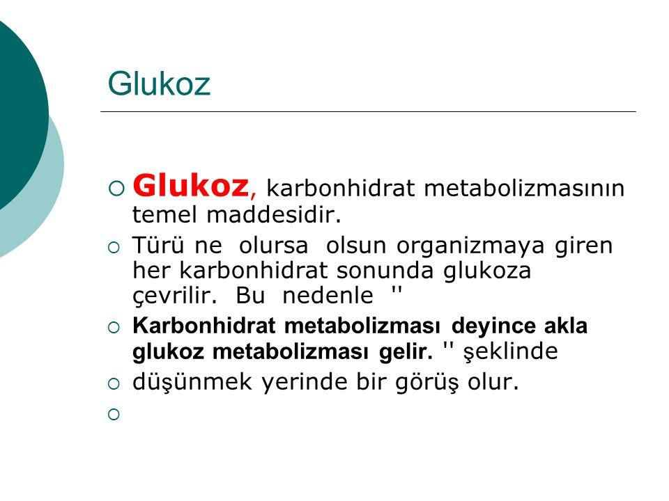Glukoz  Glukoz, karbonhidrat metabolizmasının temel maddesidir.  Türü ne olursa olsun organizmaya giren her karbonhidrat sonunda glukoza çevrilir. B